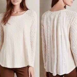 Anthropologie One September Lace Sleeve Top